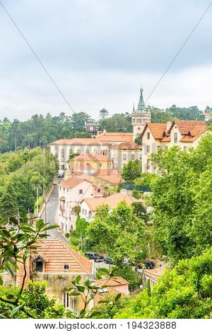 SINTRA,PORTUGAL - MAY 17,2017 - View at the old houses in Sintra. Sintra is known for its many 19th-century Romantic architectural monuments.