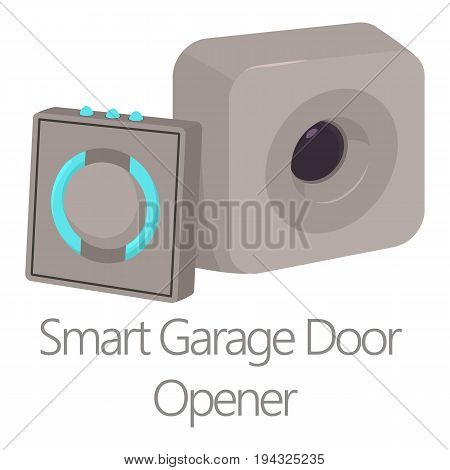 Smart garage door opener icon. Cartoon illustration of smart garage door opener vector icon for web isolated on white background