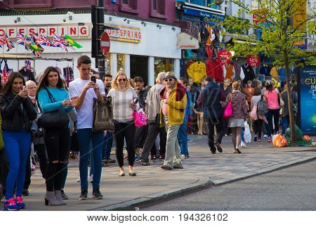 London United Kingdom - April 14 2015: street view of historic Camden Town with visitors