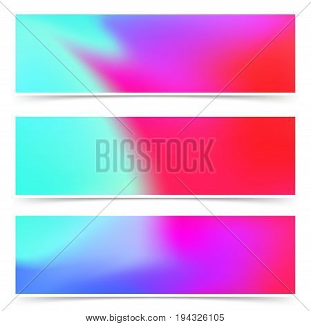 Bright fashion colorful pink and blue web headers flyers collection. Artistic elegant gentle color blend multicolor defocused cards set. Vector illustration