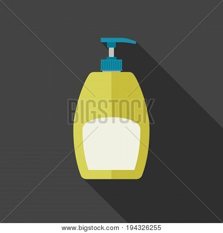 Soap dispenser in flat style. Vector illustration of plastic cosmetic bottle with long shadow.