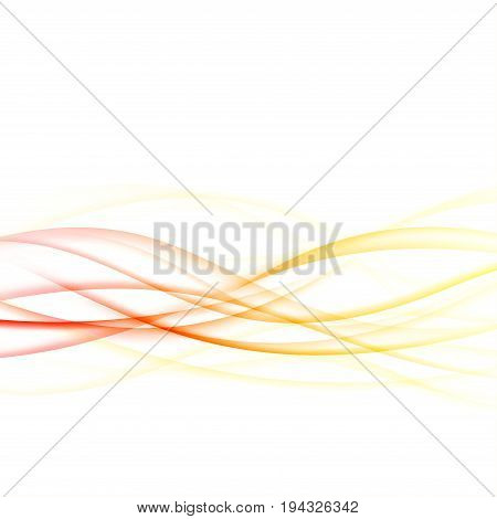 Bright energetic abstract smooth futuristic swoosh waves. Hi-tech graphic transparent motion lines. Vector illustration