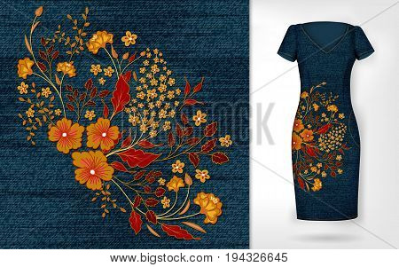 Embroidery patch vintage flowers. Show embroidery on denim and dress mockup. Vector.