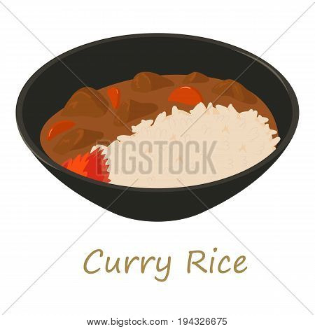 Curry rise icon. Cartoon illustration of curry rise vector icon for web isolated on white background