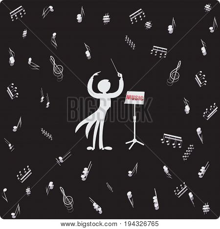 Conductor, music stand and sheet music. Vector image. Composition for the design of advertising booklets, illustrations, concert programs, announcements of speeches in magazines, newspapers, websites.