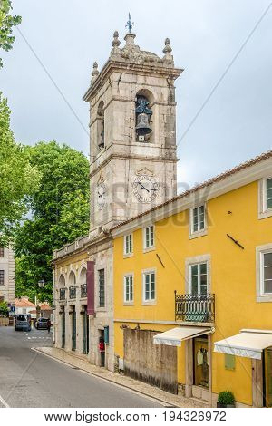 Bell tower and Church of Saint Martin in Sintra - Portugal