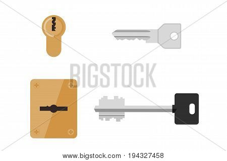 Keys and keyholes in flat style. Vector simple illustration of doors locks and different keys.