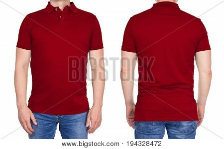 Man In Blank Dark Red Polo Shirt From Front And Rear