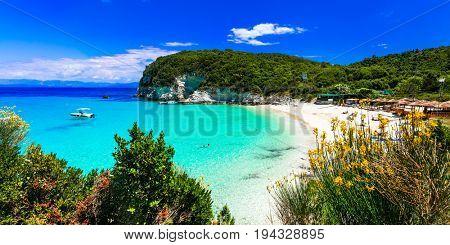 Most beautiful beaches of Greece - Vrika in Antipaxos island.