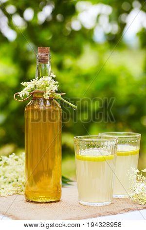 Elderflower Lemonade And Bottle Of Homemade Syrup