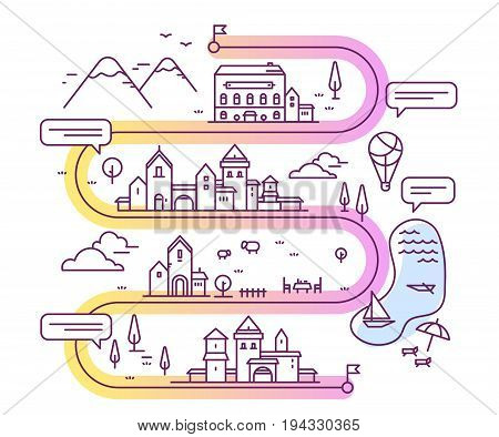 Vector Illustration Of City Navigation With Speech Bubble. Infographic Route Concept.