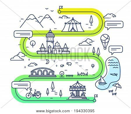 Vector Illustration Of City Children Entertainment Navigation With Speech Bubble. Infographic Route