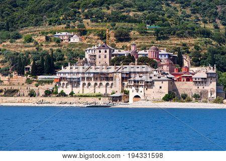 Seaview of Xenophontos Monastery in Athos Mount, Halkidiki , Greece