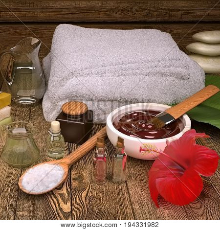 Spa still life with spa products and hibiscus flower. 3D illustration