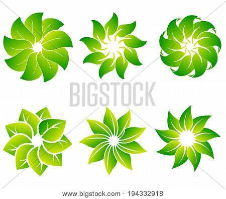 Vector set of abstract green logo design templates - emblems for holistic medicine centers, yoga classes, natural and organic food products and packaging - circles made with leaves and flowers. Vector illustration