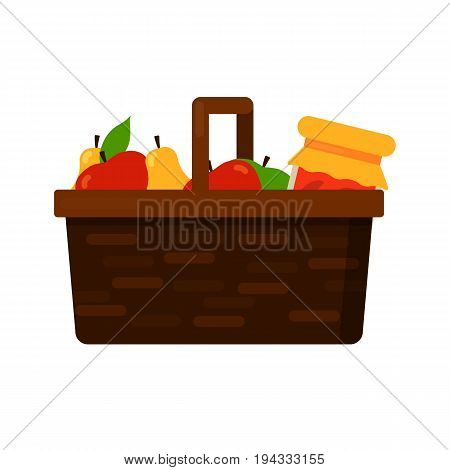 Wicker basket with fruits red green apple and yellow pear and homemade jam or juice jar. Vector flat illustration isolated on white background. Eps10.