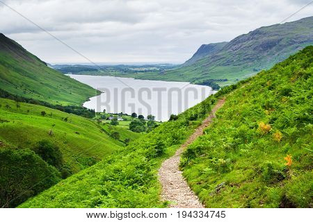 Wast Water lake, view from the path on the way to Scafell pike, the highest mountain in England, Lake District National Park, England, selective focus