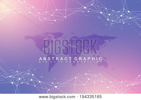 Geometric abstract background with connected line and dots. Network and connection background for your presentation. Graphic polygonal background with World Map. Scientific vector illustration
