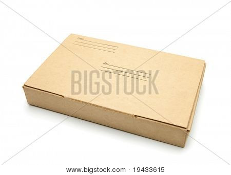Small packet of brown card board box with address and sender space.