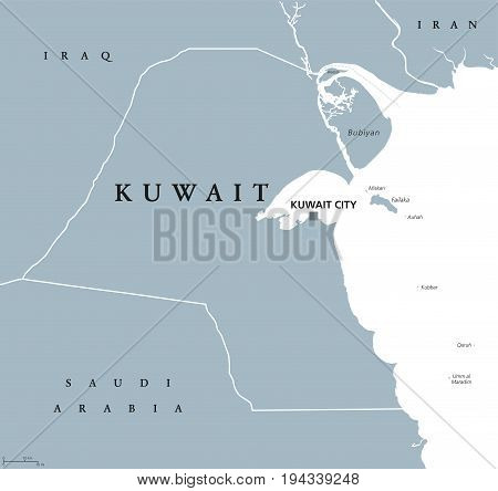 Kuwait political map with capital Kuwait City. State and Arab country in the Middle East, at the tip of the Persian Gulf. Gray illustration isolated on white background. English labeling. Vector.