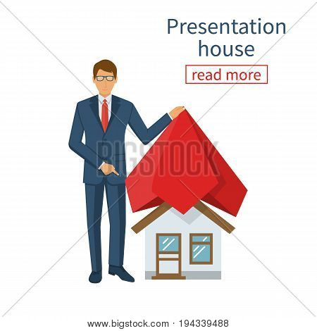 Businessman presents project at home. House covered red silk cloth. Opening construction concept. Vector illustration flat design. Isolated on white background.  Show home. Estate transaction.