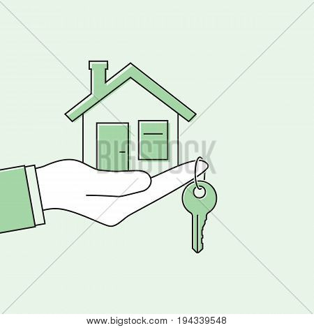 Hand giving house keys. Thin line vector illustration flat minimal design. Real estate agent handing over house keys. Template for sale, rent home.
