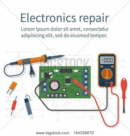 Electronics repair. Tester checking. Multimeter isolated on white background. Calibration, diagnostics, maintenance computer. Vector flat design style. Service center, workshop.