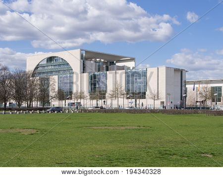 BERLIN GERMANY - APRIL 6 2017: Chancellor's Office Building With A Blue Cloudy Sky In Berlin