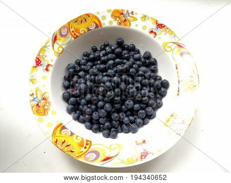 Fresh Bilberry In Plate On White Background. Concept For Healthy Eating And Nutrition. Rustic Style.
