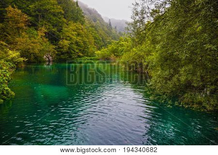 Croatia, Plitvice lake natural travel background, national park