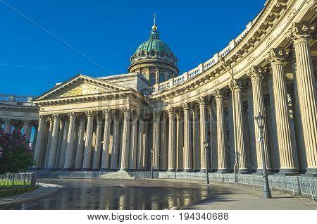 Kazan Cathedral In Saint Petersburg Blue Sky