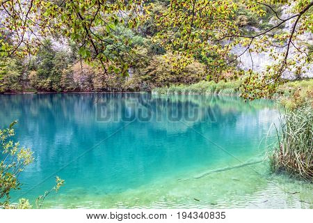 Croatia. Plitvice lake natural travel background national park