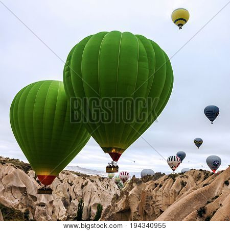 Cappadocia, Turkey - may 6, 2017: Hot air balloons show in Cappadocia, Turkey
