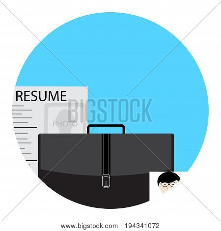 Job search icon for application. Job interview and hunting career and resume job seeker vector illustration