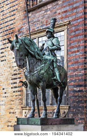 Medieval knight horseman sculpture in Bremen, Germany