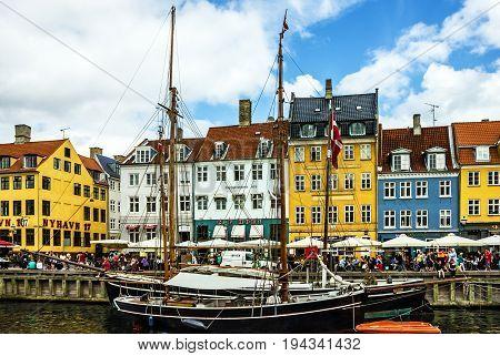 COPENHAGEN, Denmark - July9, 2017: Seafront Nyhavn in the center of Copenhagen.