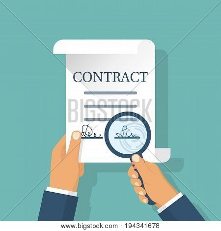 Contract in hands. Holding magnifying glass, studying terms of agreement. Signing business document. Inspection legal paper. Successful deal. Vector illustration flat design. Isolated on background.