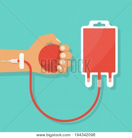 Human gives blood holding a ball in hand. Blood donation day. Vector illustrations flat design. Connected to drip to the bag for plasma. Medical healthcare concept.