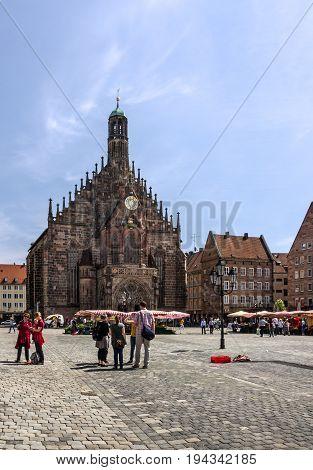 Nuremberg, Germany - july 1, 2017: Frauenkirche view on Hauptmarkt square, Bavaria