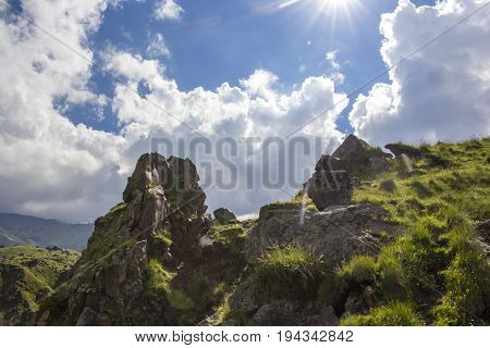 Mountain landscape. High rocks in the picturesque gorge, a beautiful view of mountains. Wild nature of the North Caucasus