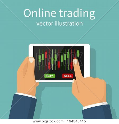 Online trading. Successful businessman stock trader conducts business in internet. Concept e-commerce banking. Stock market analysis, forex exchange. Vector flat design. Isolated on white background.