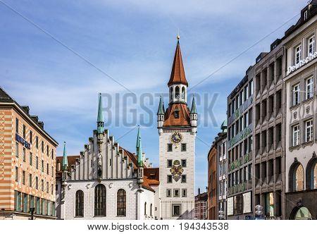 Munich, Germany - July 6, 2017: Town tower and church, Marienplatz, Munich, Germany
