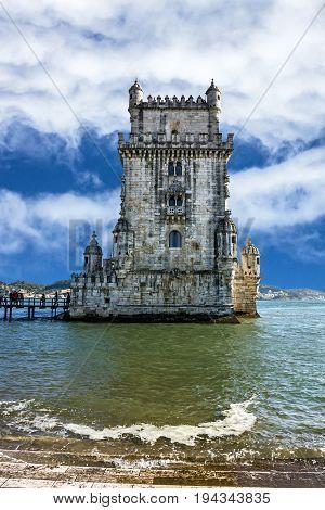 Belem tower sea view architecture, Lisbon, Portugal