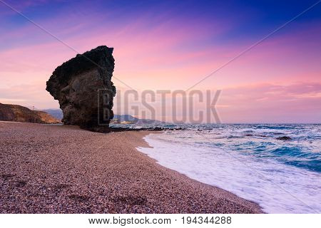 Playa de Los Muertos or Beach of the Dead in Cabo de Gata-Nijar Natural Park. Carboneras. Province of Almeria. Southern Spain