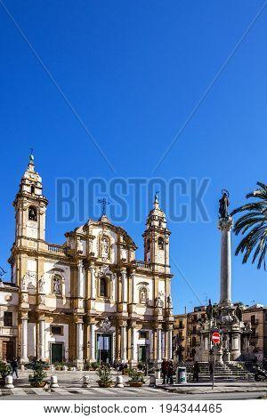 PALERMO, ITALY - JULY 3, 2017: Palermo catholic church, Sicily, Italy