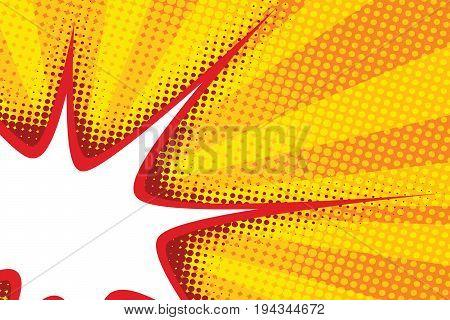 sharp bubble comic cloud in pop art yellow background. Pop art retro vector illustration