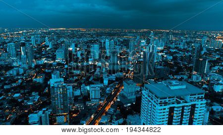Aerial drone view of Bangkok during beautiful cloudy night