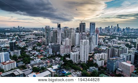 Aerial drone view of Bangkok during beautiful cloudy sunset