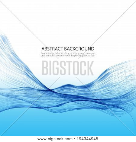 Abstract wave background.Transparent blue lines in a wave form