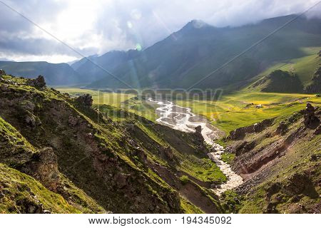 Mountain landscape. Beautiful view of the mountain gorge, picturesque valley. Mountains and nature of the North Caucasus